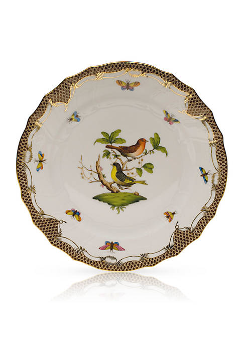 Rothschild Bird Brown Border Dinner Plate - Motif #3
