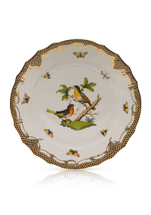 Herend Rothschild Bird Brown Border Dinner Plate