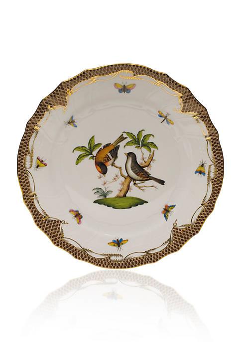 Herend Rothschild Bird Brown Border Dinner Plate