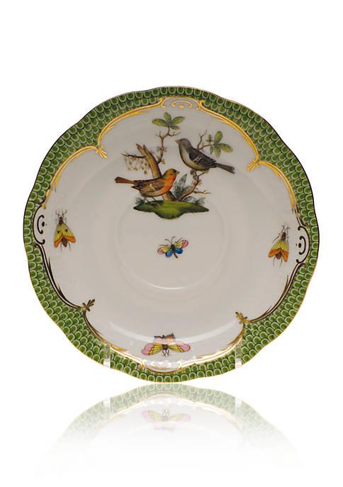 Herend Rothschild Bird Green Border Tea Saucer