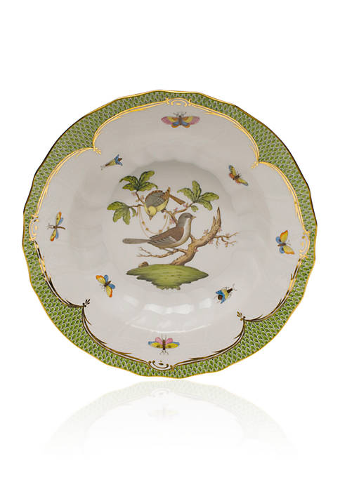 Rothschild Bird Green Border Rim Soup Bowl - Motif #1