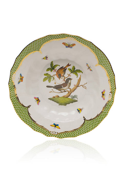 Rothschild Bird Green Border Rim Soup Bowl - Motif #4