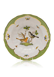 Rothschild Bird Green Border Rim Soup Bowl - Motif #5