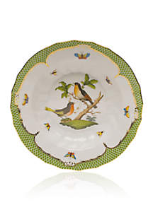 Rothschild Bird Green Border Rim Soup Bowl - Motif #8