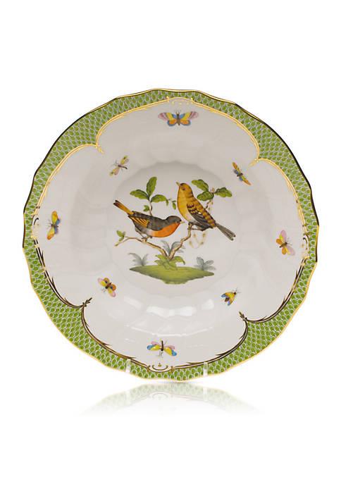Herend Rothschild Bird Green Border Rim Soup Bowl