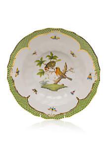 Rothschild Bird Green Border Rim Soup Bowl - Motif #10