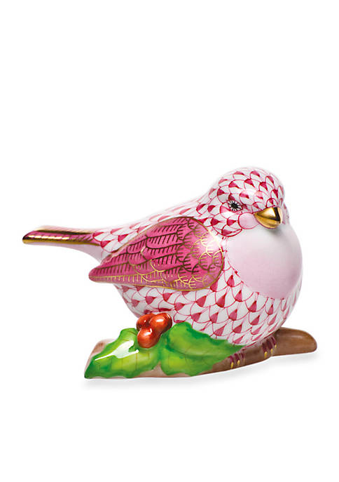 Little Bird on Holly - Raspberry