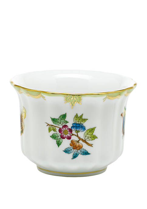 Herend Princess Victoria Green Mini Cachepot with Handles