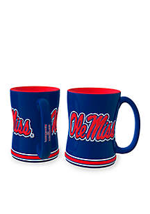 14oz NCAA Ole Miss Rebels 2-pack Relief Sculpted Coffee Mug Set