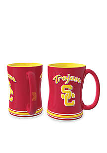 14oz NCAA USC Trojans 2-pack Relief Sculpted Coffee Mug Set
