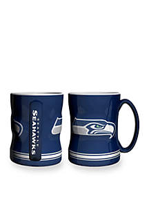 14-oz. NFL Seattle Seahawks 2-pack Relief Sculpted Coffee Mug Set