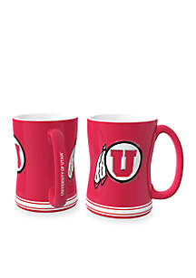14-oz. NCAA Utah Utes 2-pack Relief Sculpted Coffee Mug Set