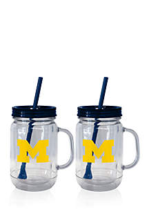 20-oz. NCAA Michigan Wolverines 2-pack Straw Tumbler with Handle