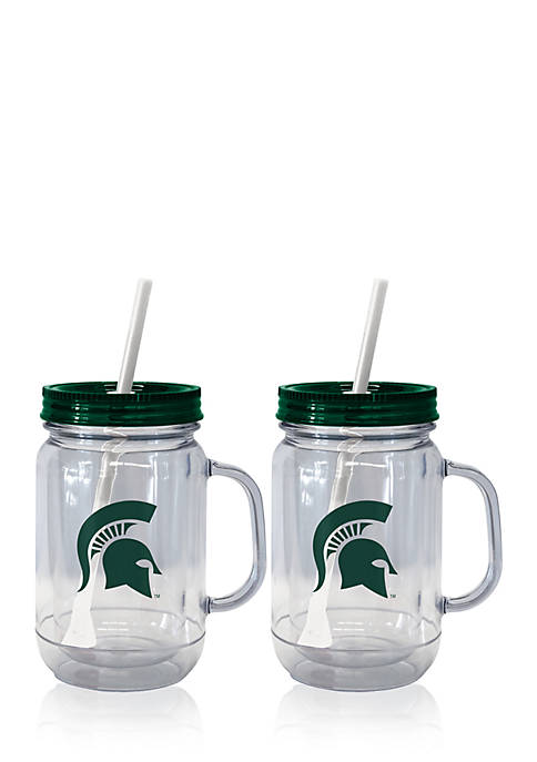 20-oz. NCAA MSU Spartans 2-pack Straw Tumbler with Handle