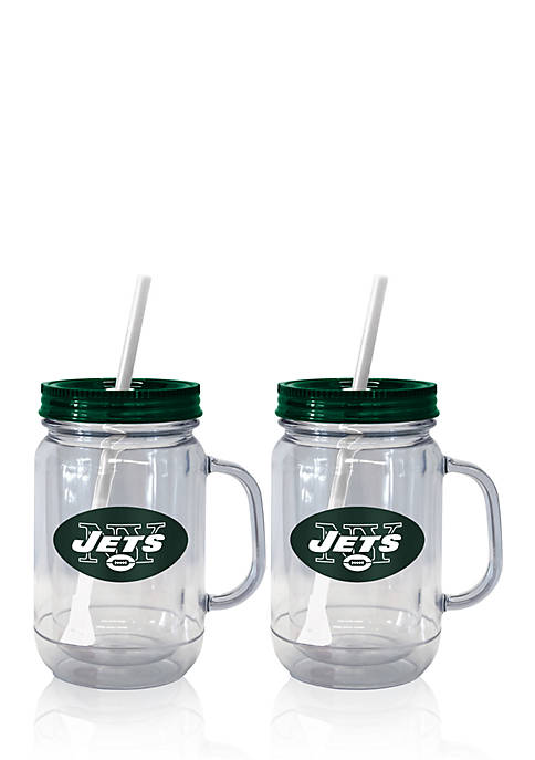 20oz NFL New York Jets 2-pack Straw Tumbler with Handle