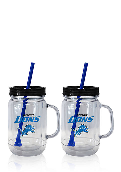 20oz NFL Detroit Loins 2-pack Straw Tumbler with Handle