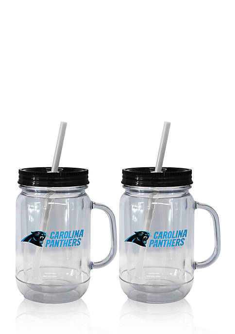 20oz NFL Carolina Panthers 2-pack Straw Tumbler with Handle