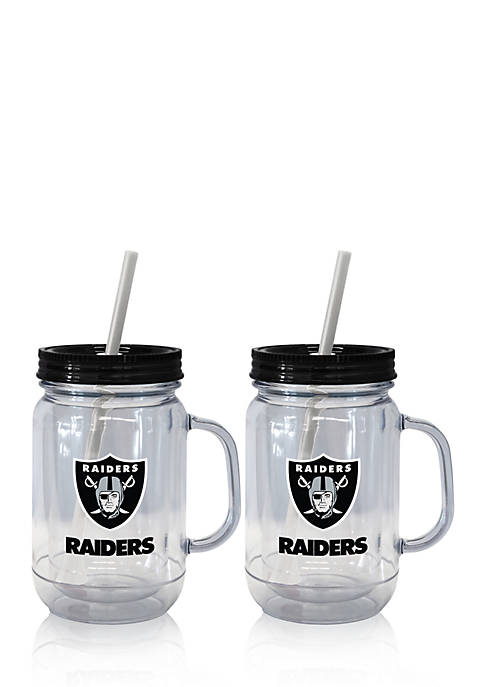 20oz NFL Oakland Raiders 2-pack Straw Tumbler with Handle