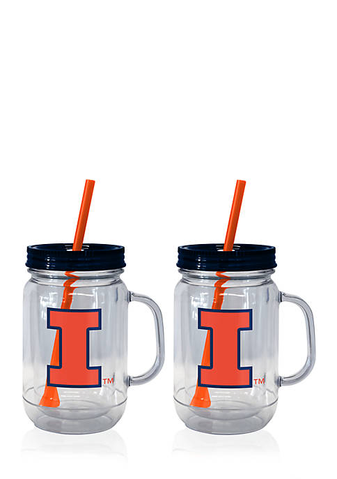 Boelter 20-oz. NCAA Illinois Fighting Illni 2-pack Straw
