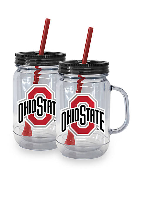 20-oz. NCAA Ohio State Buckeyes 2-pack Straw Tumbler with Handle