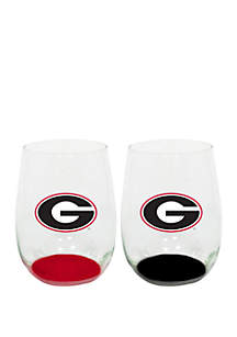 Georgia Bulldogs Stemless Wine Glasses - Set of 2