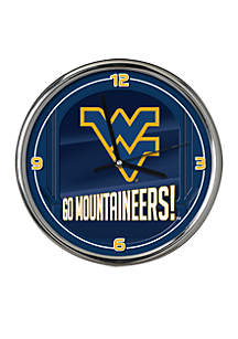 WVU Go Team Chrome Clock