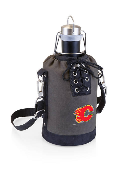 NHL Calgary Flames Insulated Growler Tote with 64 Ounce Stainless Steel Growler