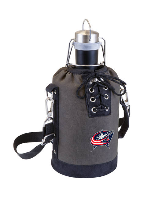 NHL Columbus Blue Jackets Insulated Growler Tote with 64 Ounce Stainless Steel Growler