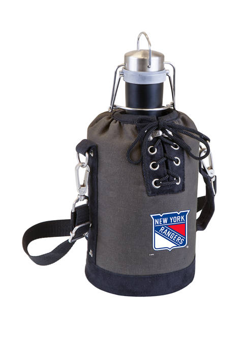 NHL New York Rangers Insulated Growler Tote with 64 Ounce Stainless Steel Growler