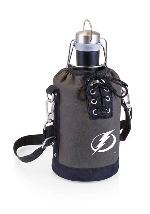 NHL Tampa Bay Lightning Insulated Growler Tote with 64 Ounce Stainless Steel Growler