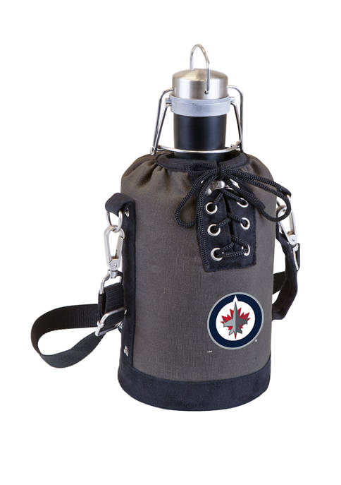 NHL Winnipeg Jets Insulated Growler Tote with 64 Ounce Stainless Steel Growler
