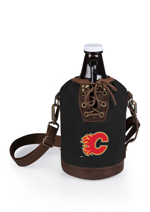NHL Calgary Flames Insulated Growler Tote with 64 Ounce Glass Growler