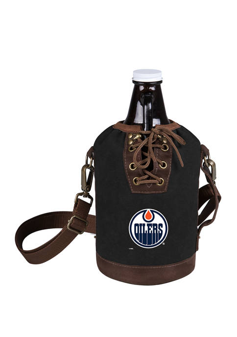 NHL Edmonton Oilers Insulated Growler Tote with 64 Ounce Glass Growler