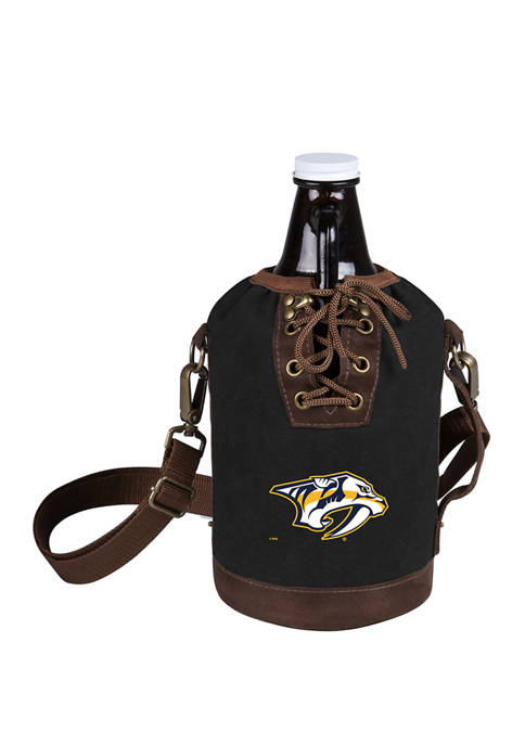 NHL Nashville Predators Insulated Growler Tote with 64 Ounce Glass Growler