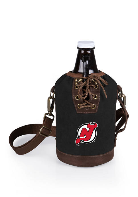NHL New Jersey Devils Insulated Growler Tote with 64 Ounce Glass Growler