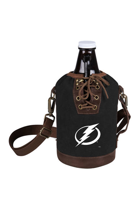 NHL Tampa Bay Lightning Insulated Growler Tote with 64 Ounce Glass Growler