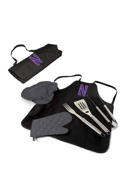 NCAA Northwestern Wildcats BBQ Apron Tote Pro Grill Set