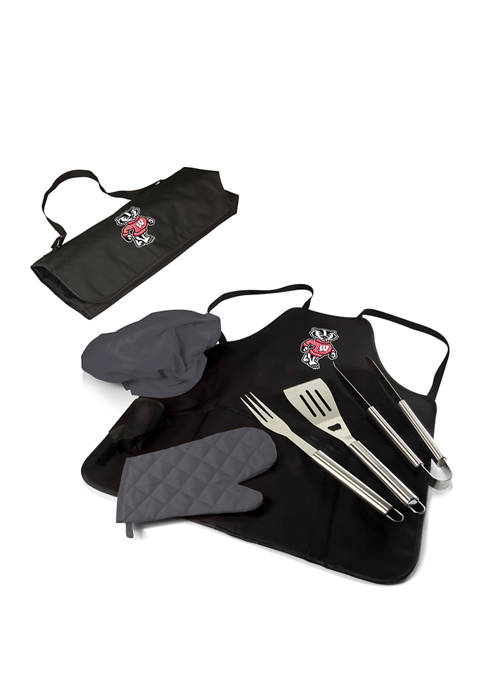 NCAA Wisconsin Badgers BBQ Apron Tote Pro Grill Set