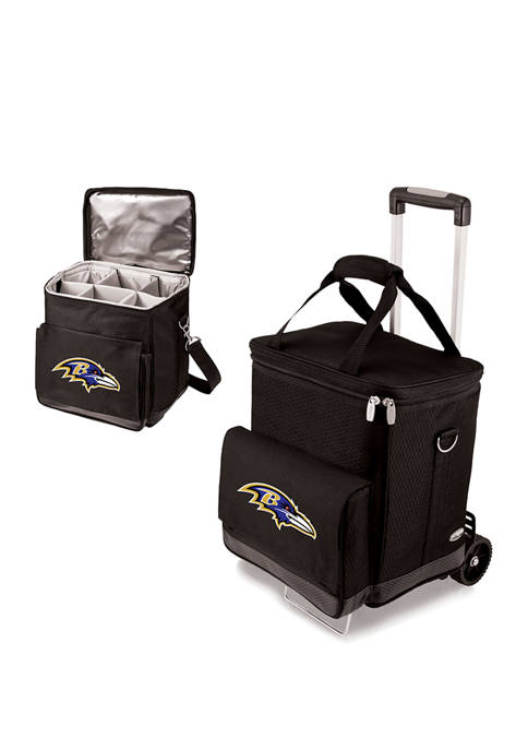 NFL Baltimore Ravens Cellar 6-Bottle Wine Carrier & Cooler Tote with Trolley