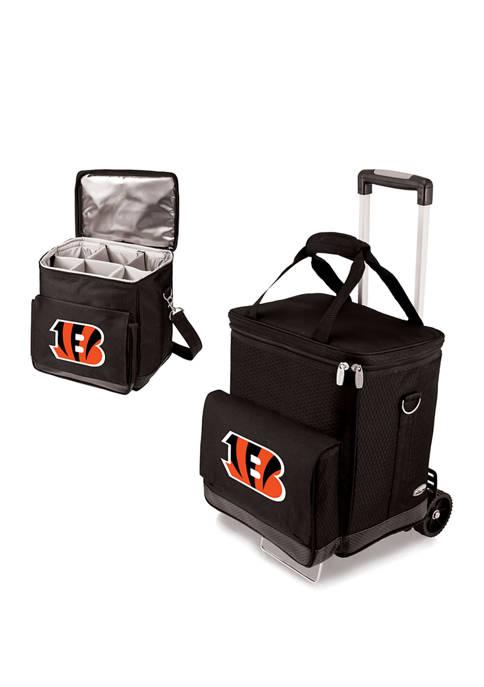 NFL Cincinnati Bengals Cellar 6-Bottle Wine Carrier & Cooler Tote with Trolley