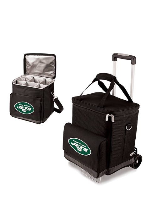 NFL New York Jets Cellar 6-Bottle Wine Carrier & Cooler Tote with Trolley