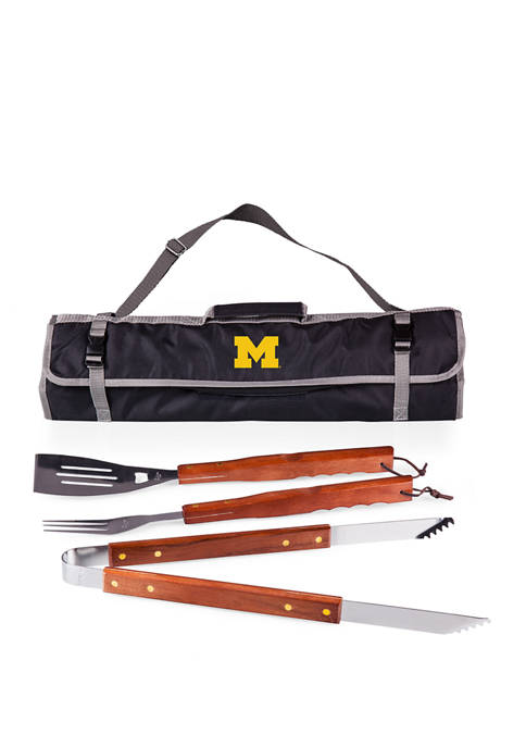 NCAA Michigan Wolverines 3 Piece BBQ Tote & Grill Set