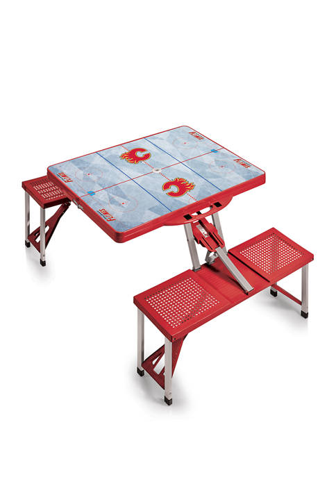 NHL Calgary Flames Picnic Table Portable Folding Table with Seats