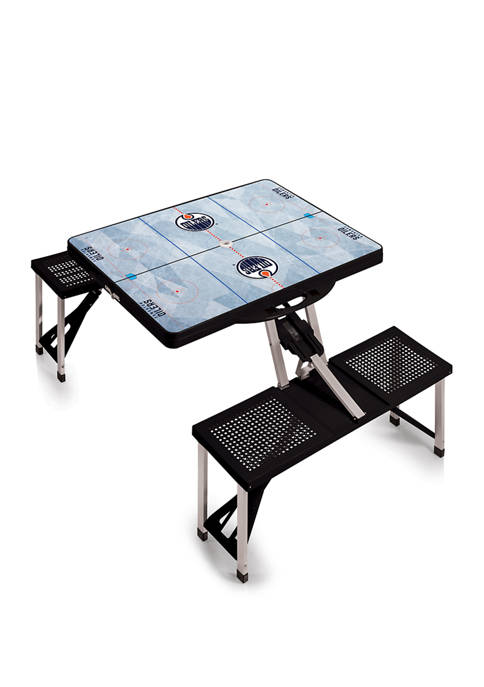 NHL Edmonton Oilers Picnic Table Portable Folding Table with Seats
