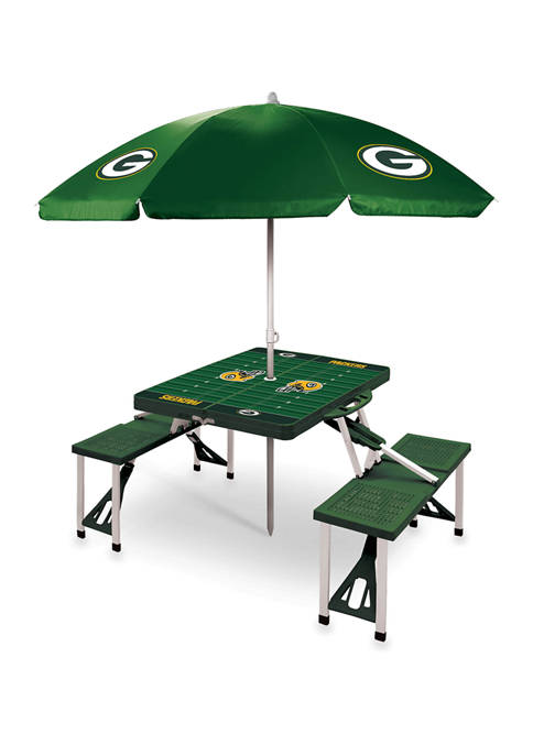NFL Green Bay Packers Picnic Table Sport Portable Folding Table with Seats & Umbrella - NFL Only