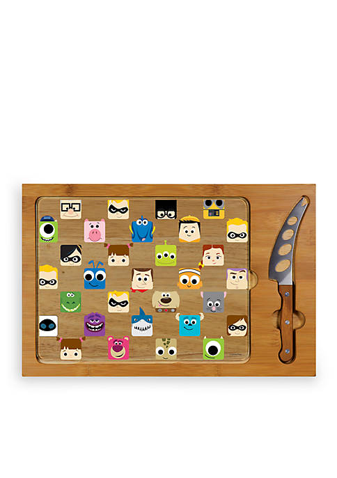Pixar Collection - Icon Glass Top Serving Tray & Knife Set by Picnic Time (Natural Wood)