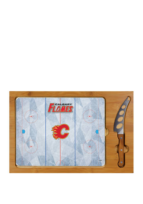 NHL Calgary Flames Icon Glass Top Cutting Board & Knife Set