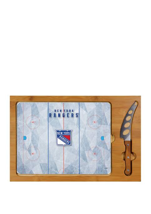NHL New York Rangers Icon Glass Top Cutting Board & Knife Set
