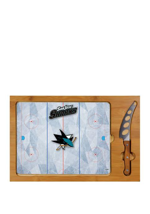NHL San Jose Sharks Icon Glass Top Cutting Board & Knife Set