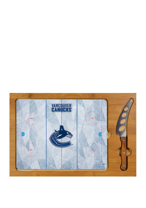 NHL Vancouver Canucks Icon Glass Top Cutting Board & Knife Set